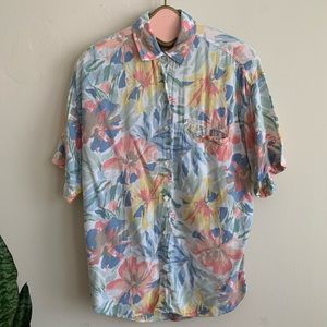 VTG 90's Pastel Tropical Print Rayon Button Shirt